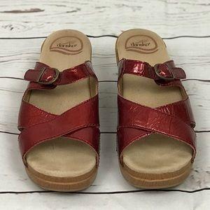 Dansko Red Patent Leather Sandals